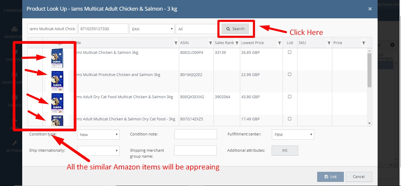 How to list an item in Amazon Catalog from Linnworks